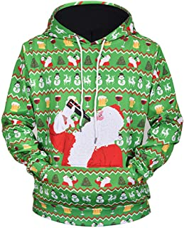 Clearance Forthery Men Women Ugly Christmas Pullover Sweatshirts 3D Print Sweater Hooded Pocket