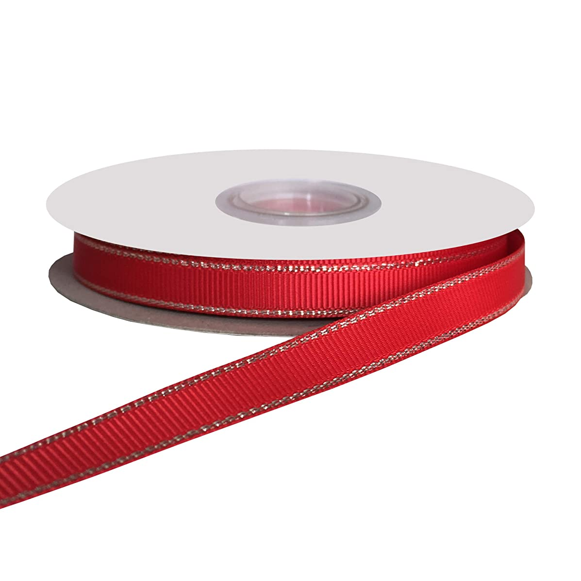 DUOQU 3/8 inch Wide Silver Metallic-Edge Grosgrain Ribbon 25 Yards Roll Red