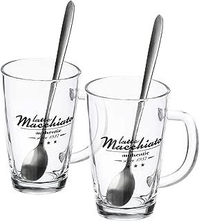 Set3-06 pezzi//t/è in vetro colorato bicchiere da t/è//caff/è//cappuccino com-four/® Bicchiere da 6 pezzi lavabile in lavastoviglie