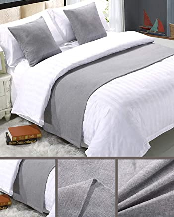 featured product Mengersi Solid Bed Runner Scarf Protector Slipcover Bed Decorative Scarf for Bedroom Hotel Wedding Room (Queen,  Light Gray)
