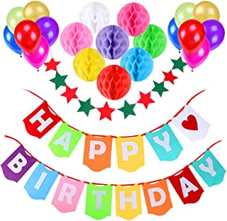 Happy Birthday Banner, Gyvazla Birthday Party Decorations Favors with 8 Pack Honeycomb Paper Balls and 12 Colorful Party B...