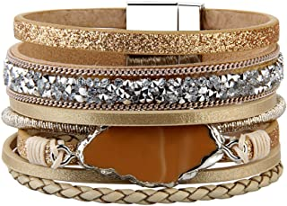 Prettyia Braided Wide Multi-layer Mini Rivet Volcanic Stone Bracelet Gold