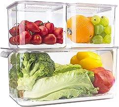elabo Food Storage Containers Fridge Produce Saver- 3 Piece Set Stackable Refrigerator Organizer Keeper Drawers Bins Baske...