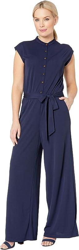 Petite Buttoned Jersey Jumpsuit