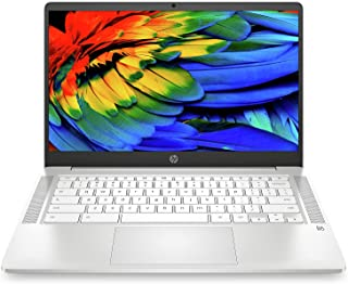 "HP Chromebook 14a-na0012nf Ordinateur Ultraportable 14"" HD Blanc (Intel Celeron, RAM 4 Go, eMMC 32 Go, AZERTY, Chrome OS) Clavier AZERTY Français"
