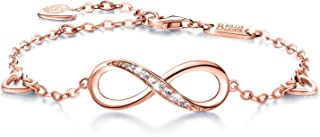 Womens 925 Sterling Silver Infinity Endless Love Symbol Charm Adjustable Bracelet Gift..