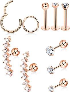 10 Pezzi Set di Orecchini Trago di Cartilagine Borchie Labret Orecchino Manubrio CZ Acciaio Intarsiato Orecchino per Tragu...
