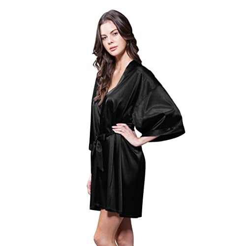 b7a716d68a Turquaz Linen Women s Pure Color Satin Short Kimono Bridesmaids Lingerie  Robes
