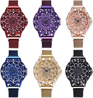 OULAIELF Women Ladies Girls 6 Pack Wholesale Assorted Alloy Strap Wrist Watch Fashion Quartz Magnetic Mesh Band Watch Gifts