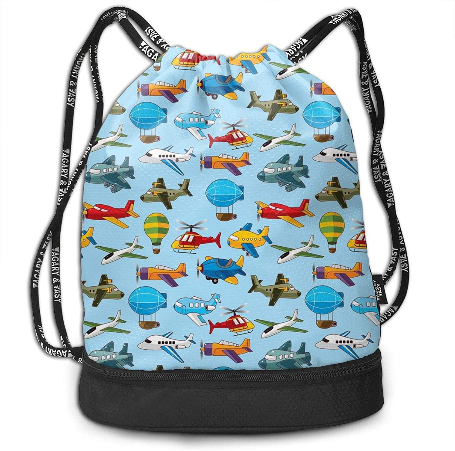 4e98207d Helicopter Plane Print Drawstring Bags Simple Gym Shoulder Bags ...