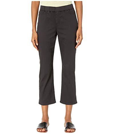 Eileen Fisher Garment Dyed Organic Cotton Stretch Denim Slim Knee Cropped Jeans in Washed Black (Washed Black) Women