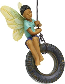 Miniature Fairy Garden Boy on Tire Swing Mg254