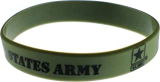 United States Army Star Silicone Rubber Wristband Bracelet [Adult - Olive Green]