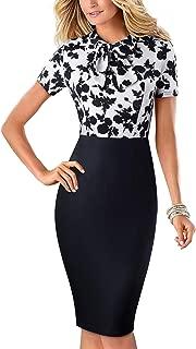 HOMEYEE Womens Vintage Round Neck Peplum Stretch Office Dress B542