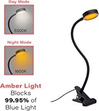 Headboard Clip On Reading Light, Blue Light Blocking, Amber LED Night Light for Reading in Bed, at Computer or Desk. Day/Night Modes for White/Amber Light. 1600K Sleep Aid Light by Hooga. Black