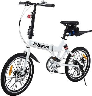 ZYD Bicicleta Plegable Bicicletas port/átiles de 20 Pulgadas y 6 velocidades Freno de Disco Doble Bicicleta de monta/ña para viajeros urbanos para Adolescentes Adultos 3 Colores