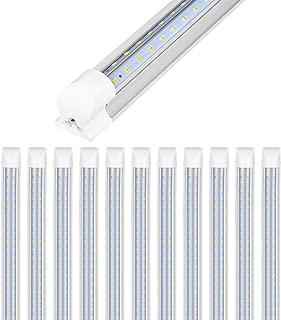 Hykolity 12 Pack Linkable Shop Light, 8FT Industrial Linear Strip Light for Garage, 72W (150W Equiv.) 8640lm 5000K Daylight Clear V-Shaped Integrated Fixture for Workshop Warehouse Basement,ETL List
