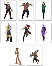 Watercolor Guardians of the Galaxy - Set of 8 (11x14) Glossy Comic Wall Art - Star-lord (Peter Quill) - Gamora - Nebula - Rocket Racoon - Baby Groot - Drax the Destroyer - Mantis - Thanos
