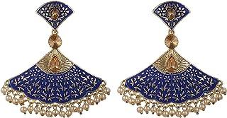 Archi Collection Fashion Jewellery Blue Metal Rhinestone Crystal Meenakari Dangle Chandelier Earring Set for Women