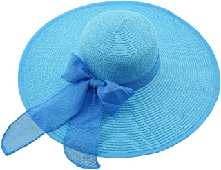 Inception Pro Infinite Cappello da Sole - Donna - Elegante - Maxi Fiocco - Paglia - Spiaggia - Mare - Estate - Protezione Solare - Colore Turchese