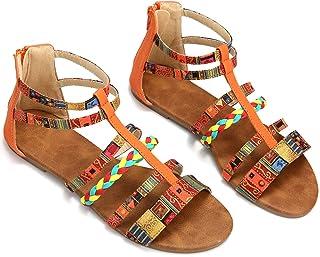 Gracosy Sandales Femmes Plates, Chaussures Tongs Été Bohème Spartiates en  Cuir PU à Talons Plats