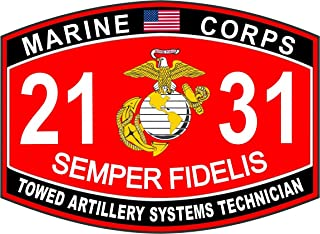 Magnet Towed Artillery Systems Technician Marine Corps MOS 2131 USMC US Marine Corps Military Car Bumper Magnet Sticker Magnetic Vinyl Decal 3.8