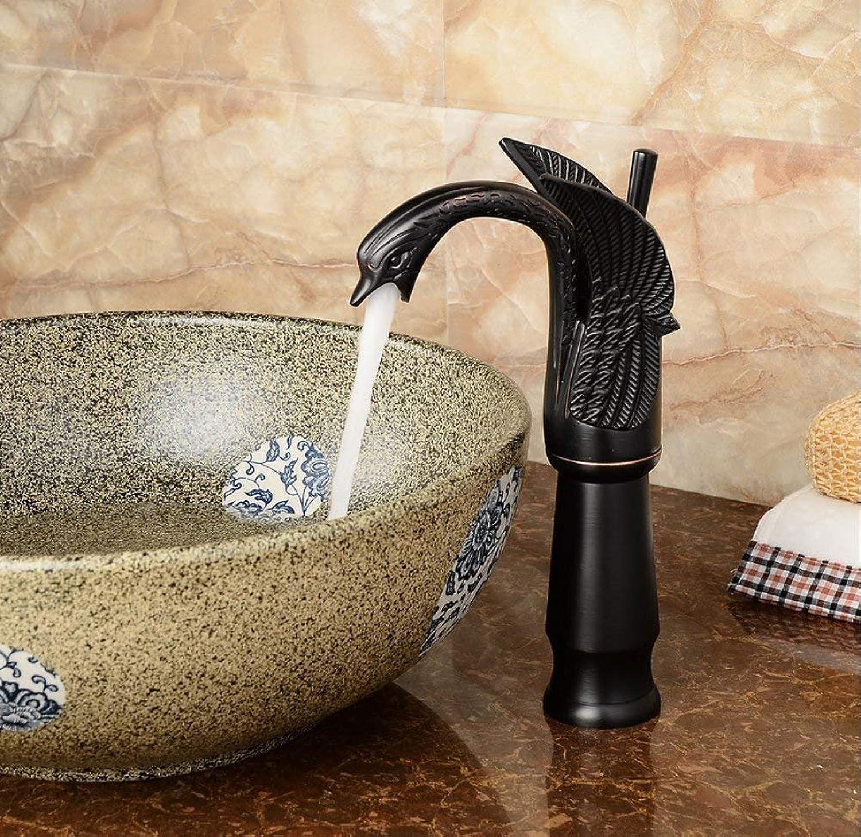 GONGFF Waschtischarmaturen Wasserhahn Europischen schwarz Bronze über aufsatzbecken Wasserhahn Retro schwne Wasserhahn Bad waschbecken heien und kalten Wasserhahn mischwasserhahn waschbecken was