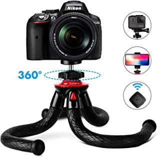 """Joyhill Waterproof and Anti-Crack Vlogging Tripod for Camera and Action Camera 12/"""" Flexible Tripod with Remote and Selfie Light Ring Compatible with iPhone//Android Phone Tripod"""