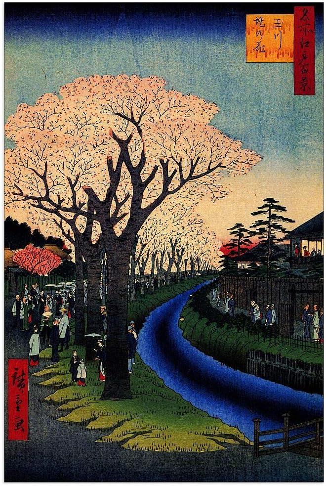 ArtPlaza Hiroshige Utagawa - Blossoms New product! New type River on Quality inspection Decorati Tama the