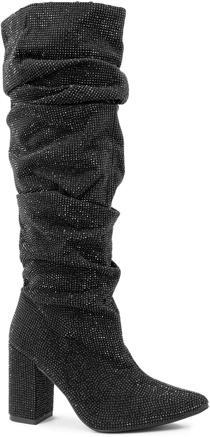 Paris Peach Women's Rhinestone Crystal Embellished Pull On Pointy Toe Cone Heel Knee High Slouch Boot