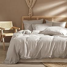 غطاء لحاف HYPREST مصنوع من الكتان بنسبة 100% مقاس Queen، أغطية لحاف سرير طبيعية جيدة التهوية ناعمة ومبردة لجميع المواسم (ب...