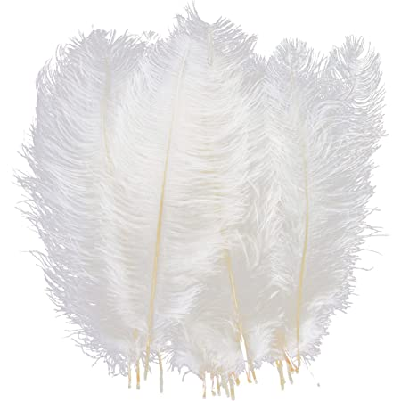 ULTNICE 36pcs Pink and Gold Dipped White Feathers for Crafts Wedding and Party Dress Up