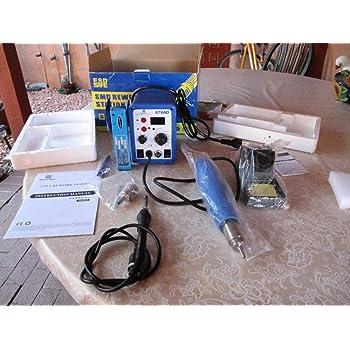 2in1 878ad Rework Soldering Station Iron Welder Hot Air Gun & Tip 640w with Iron & Heat Gun Holders Brand New in Box