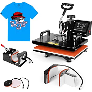 Heat Press Machine 15x15 inch - TUSY 5 in 1 Swing Away Digital Industrial Sublimation Printing Press Heat Transfer Machine for T-Shirt Hat Mug Plate