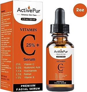 ActivePur 25% Vitamin C Serum for Face (Double Size, 2 OZ/60 ml) Vitamin E+B5, Hyaluronic Acid Serum for Face Retinol Ferulic Acid Niacinamide Anti Aging Wrinkle Age Spots Eye circles Skin Moisturizer