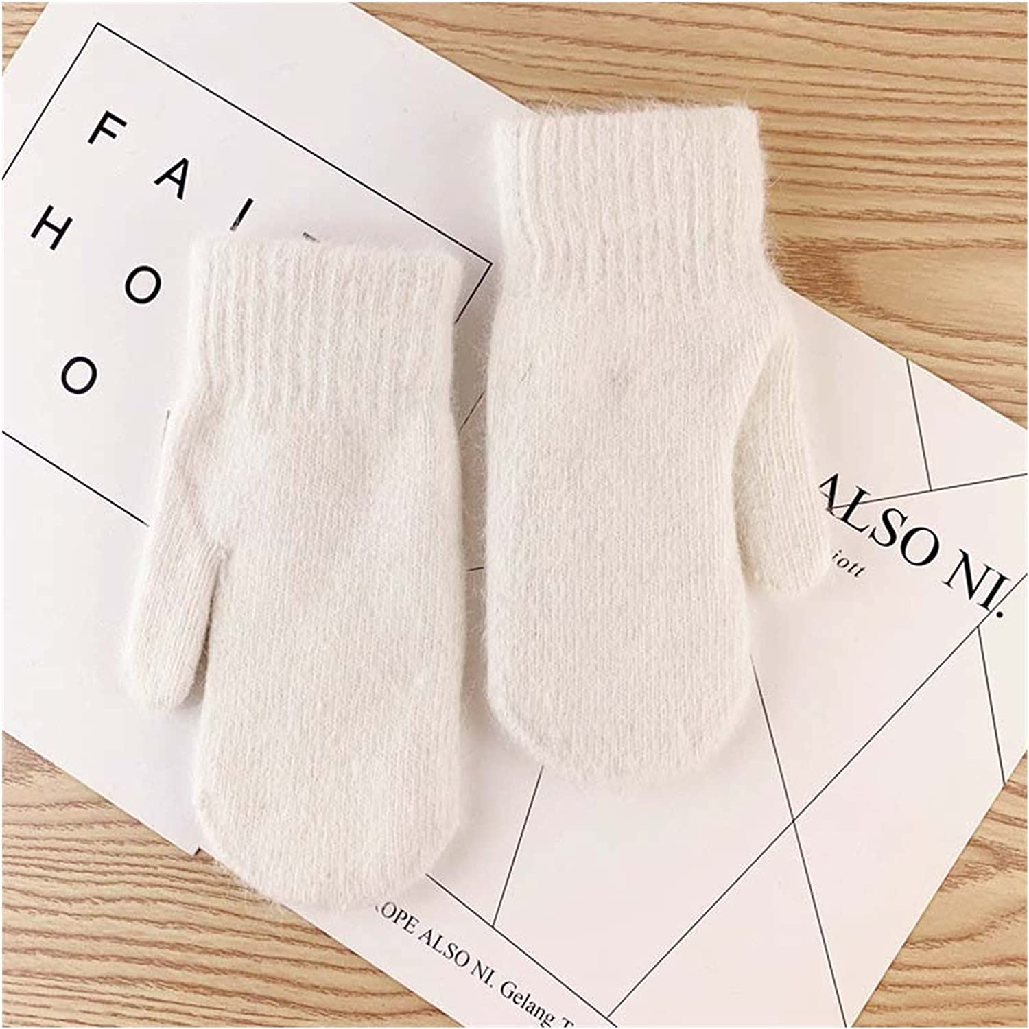 JSJJAWS Winter Gloves Female Double-Layer Gloves Version of Solid Color All Fingers Winter Women Gloves Girls Mittens (Color : White, Gloves Size : One Size)