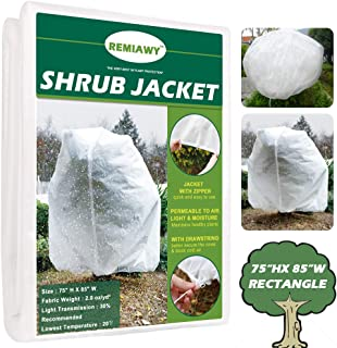 "Remiawy Plant Covers Freeze Protection Frost Blanket for Plants Trees Shrubs-Reusable Shrub Covers Jacket with Zipper Drawstring, Frost Cover for Animal Protection (85""X75"" Shrub Jacket 2 oz/sq yd)"