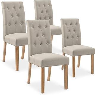 INTENSEDECO Lot de 4 chaises capitonnées Gaya Tissu Beige