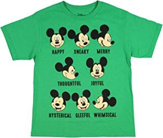 Disney Boys' Mickey Mouse Shirt Many Expressions Of Mickey Graphic Licensed Youth T-Shirt