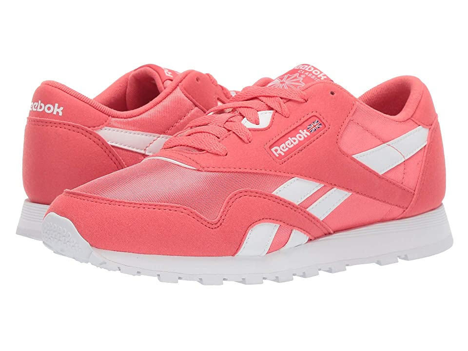 Reebok Kids Classic Nylon MU (Big Kid) (Bright Rose/White) Girls Shoes