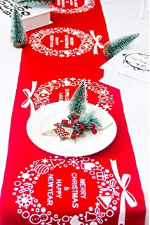 Bllomsem Apanphy® Noël Chemin de Table, Impression Coton Lin Nappe Banquet Partie Linge de Table Table Drapeau Table Runne...