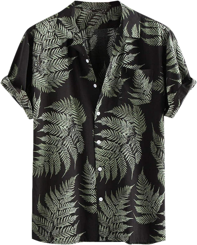 Toufguy Men's Hawaiian Shirt Printed Linen Cotton Short Sleeve Button Down Regular Fit Beach Shirts with Pockets