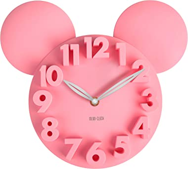 MEIDI CLOCK Modern Design Mickey Mouse Big Digit 3D Wall Clock Home Decor Decoration - Pink