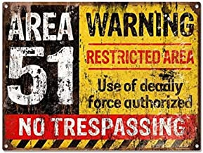 ERLOOD Area 51 No Trespassing Military Vintage Retro Metal Sign Aluminum Sign 12 x 8
