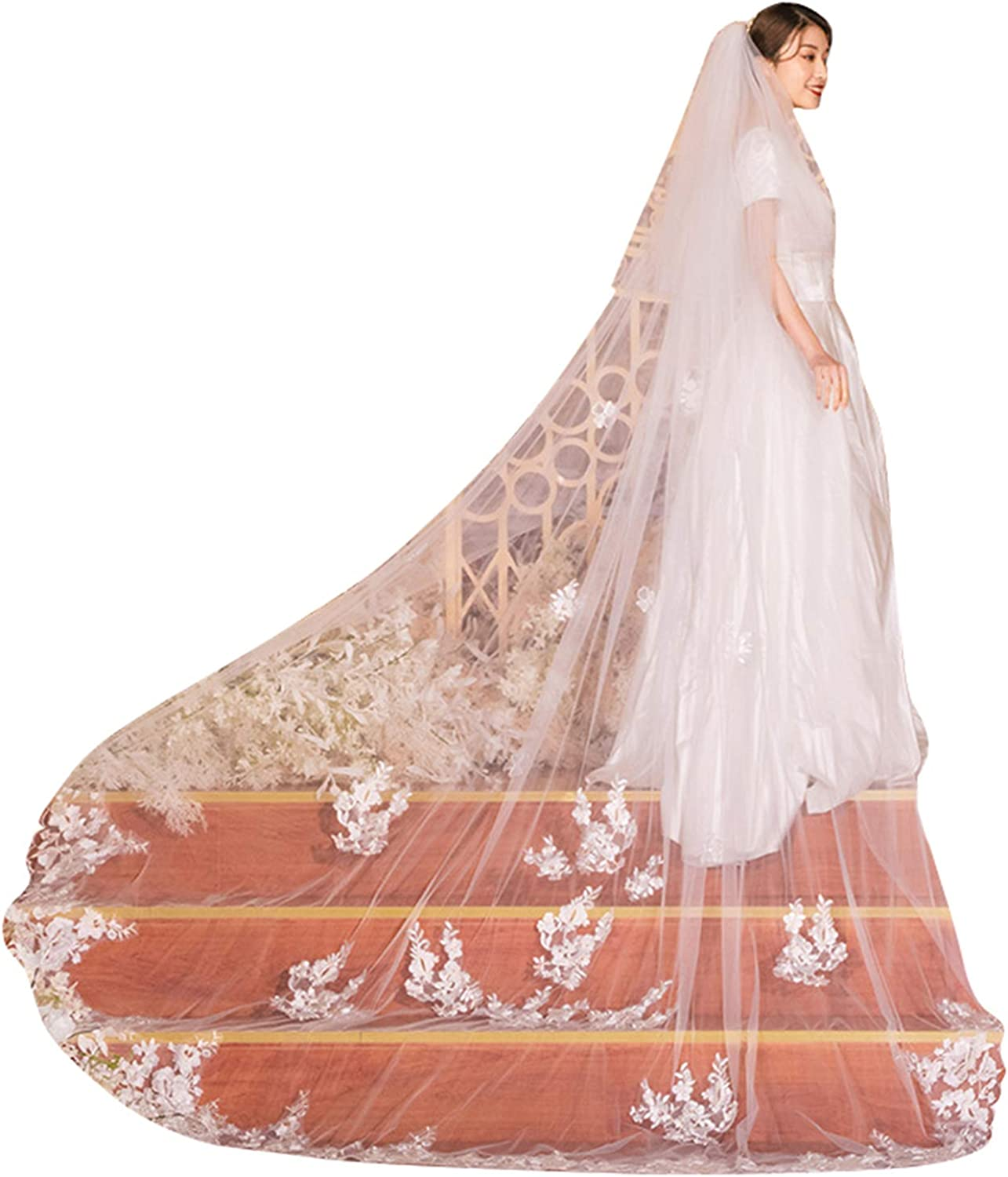Wedding Veils Long for Brides 2 Tier Lace Cathedral Length Blusher with Comb