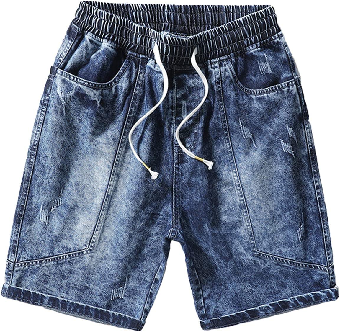 Men's Loose Denim Shorts Ummer Plus Size Casual Jeans Shorts Classic Fit Drawstring Elastic Waist Jean Short Pants (Blue,Large)