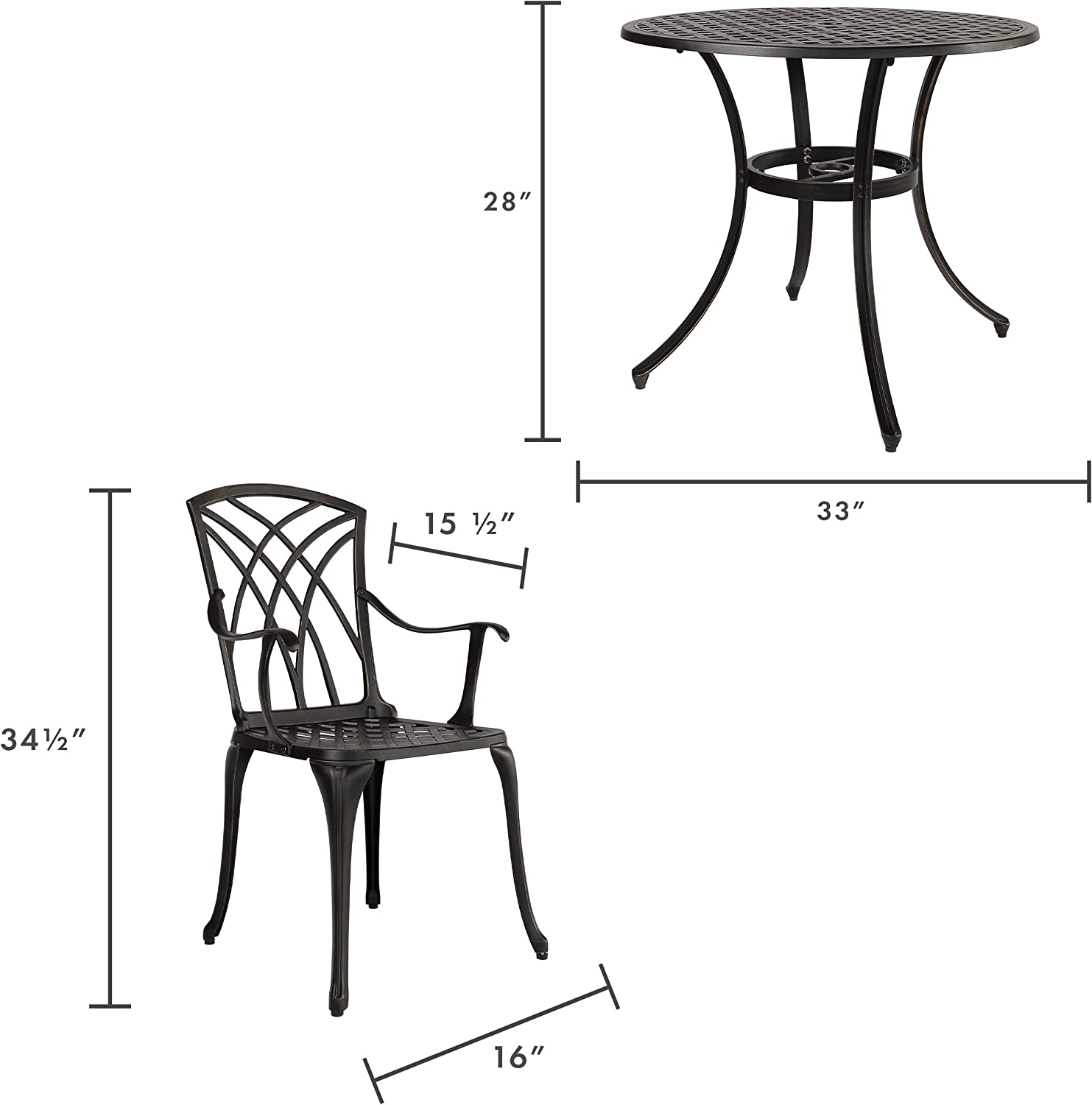 Drop Leaf Cast Aluminum Kinger Home Outdoor Dining Chairs Set of 4 Antique Brown Weatherproof and Windproof Patio Furniture Metal Patio Dining Chair