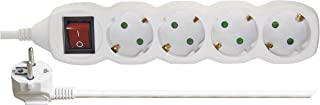 EMOS Steckdosenleiste 4-fach mit Schalter, 3 m Kabel, weiß, Steckdosen 45° gedreht, 1,5 mm, Schuko Mehrfachsteckdose mit Kindersicherung, IP20 für Innenbereich
