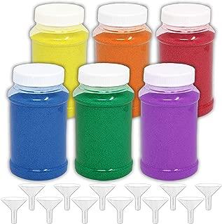 HeroFiber Craft Sand Art [8 Pounds] — 6 Bottles (22 oz. ea.) Fun Colorful Sand + 12 Funnels — Decorative Scenic Rainbow Sand for Kids' Play, Unity, Wedding, Vase Filling