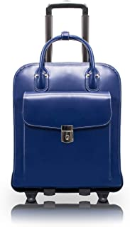 "McKlein, W Series, LA Grange, Top Grain Cowhide Leather, 15"" Leather Vertical Patented Detachable -Wheeled Ladies' Laptop Briefcase, Navy (96497)"